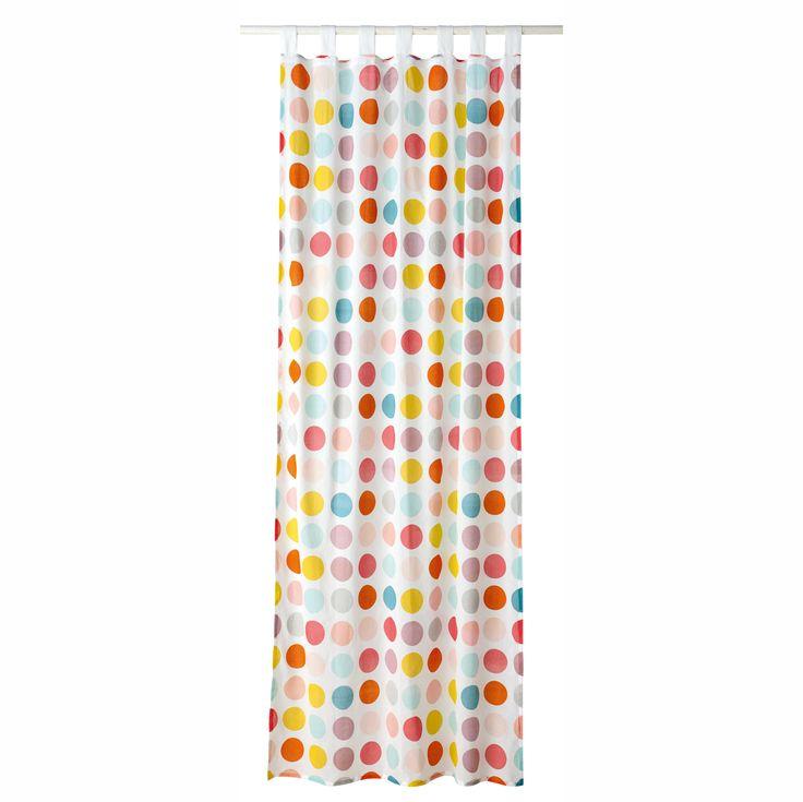 Tenda con motivi a pois in cotone con passanti 110 x 250 cm ALIX