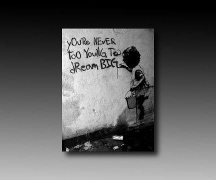 "Druck auf leinwand ""Banksy"" Graffiti - Bild 40x30cm ""Dream Big"" ! Bild fertig auf Keilrahmen ! Pop Art Gemälde Kunstdrucke, Wandbilder, Bilder zur Dekoration - ""Banksy"" Streetart Wandbilder Kunstbruder Köln http://www.amazon.de/dp/B00C9DTV9M/ref=cm_sw_r_pi_dp_UC9Tvb1XXSQ73"