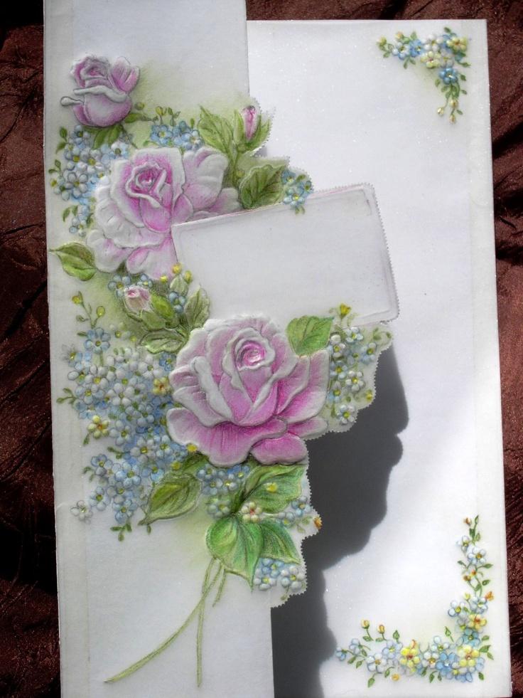 Roses.  crayons aquarelle, pergamano.  Shanon Jeurissen