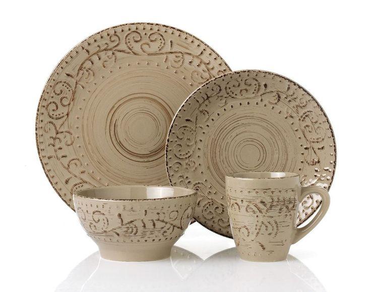 16 Piece Round Stoneware Dinnerware Set Distressed Mocca by Lorren Home Trends #LorrenHomeTrends