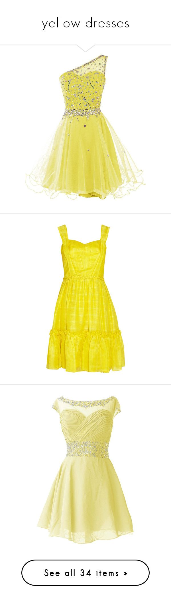 """yellow dresses"" by megsjessd99 ❤ liked on Polyvore featuring dresses, prom dresses, beaded prom dresses, short prom dresses, tulle prom dress, one shoulder prom dresses, short dresses, oscar de la renta, party dresses and marigold"