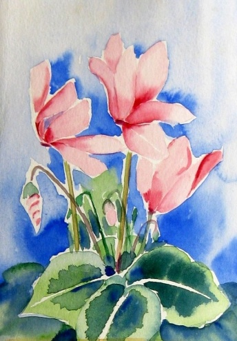 """CyClamen""Small Watercolor 5x7"", painting by artist Meltem Kilic"