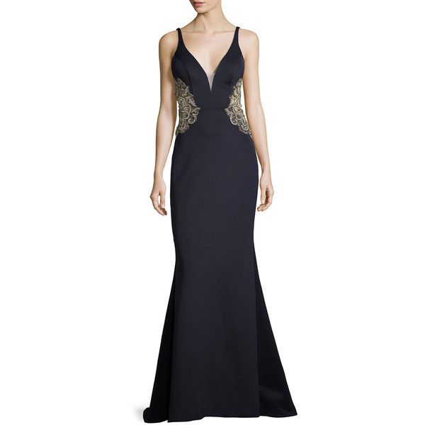Faviana Metallic Embroidered Open-Back Mermaid Gown ($490) ❤ liked on Polyvore featuring dresses, gowns, navy, open back gown, mermaid gown, v-neck dresses, embroidered dress and navy blue dress