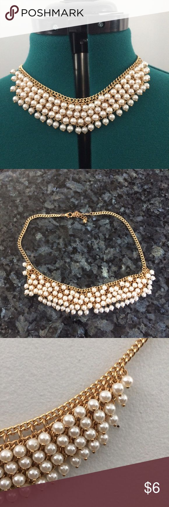 Pearl Statement Necklace Pearl statement necklace with a gold chain. ♡ Jewelry Necklaces