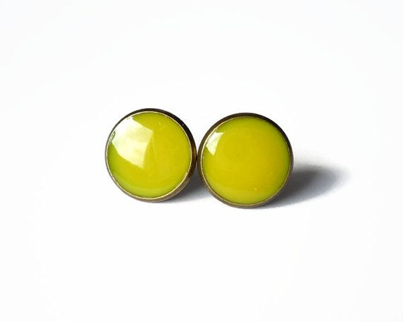 Sun yellow stud earrings yellow resin tiny ear posts ,dot earring by treasurecreator, $12.00