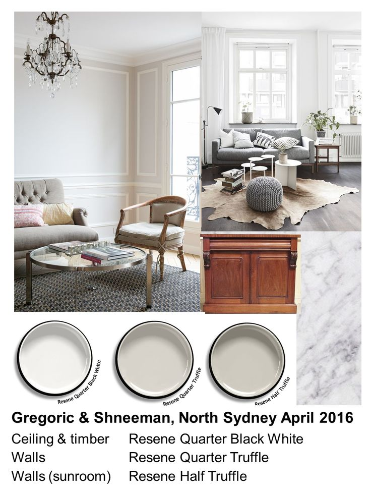 Gregoric & Schneeman colour scheme 2016: Light taupe/grey (Resene Quarter Truffle) in kitchen, sitting and dining rooms to give the illusion of space and light plus white (Resene Quarter Black White) ceiling and timber detailing to reflect light back into rooms. Fractionally deeper tone (Resene Half Truffle) in the sunroom to anchor the colour scheme. Accent hues added via furnishings. Mood board, Zena O'Connor