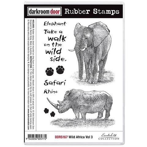 Darkroom Door cling rubber stamps in a set, elephant and rhino
