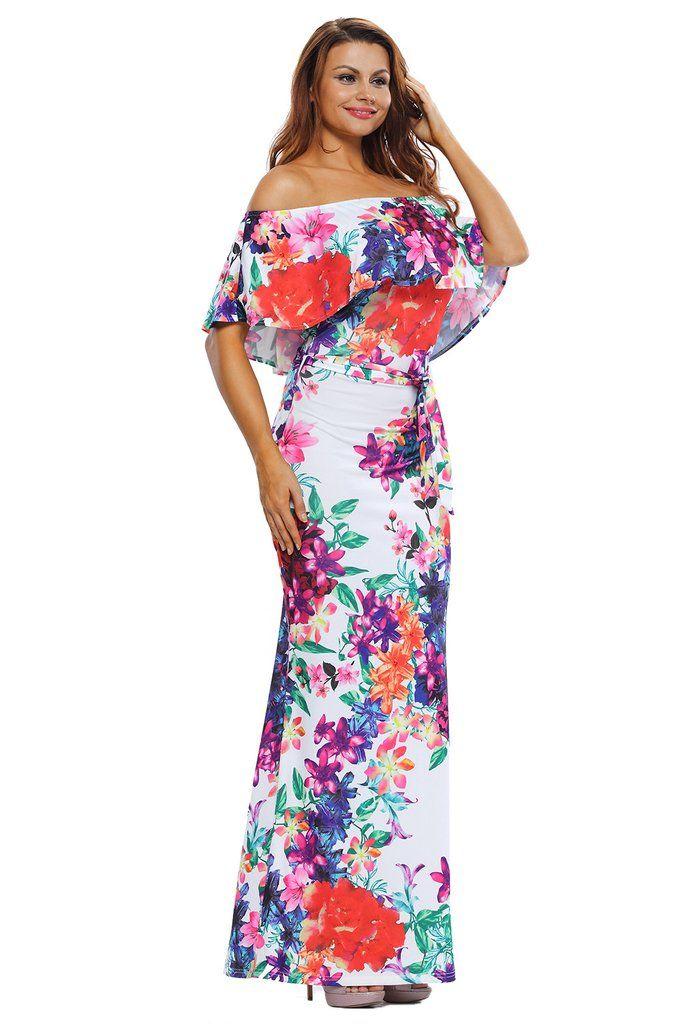 Robes Maxi Multi-couleur Fleur Imprime Epaules Denudees MB61263-22 – Modebuy.com