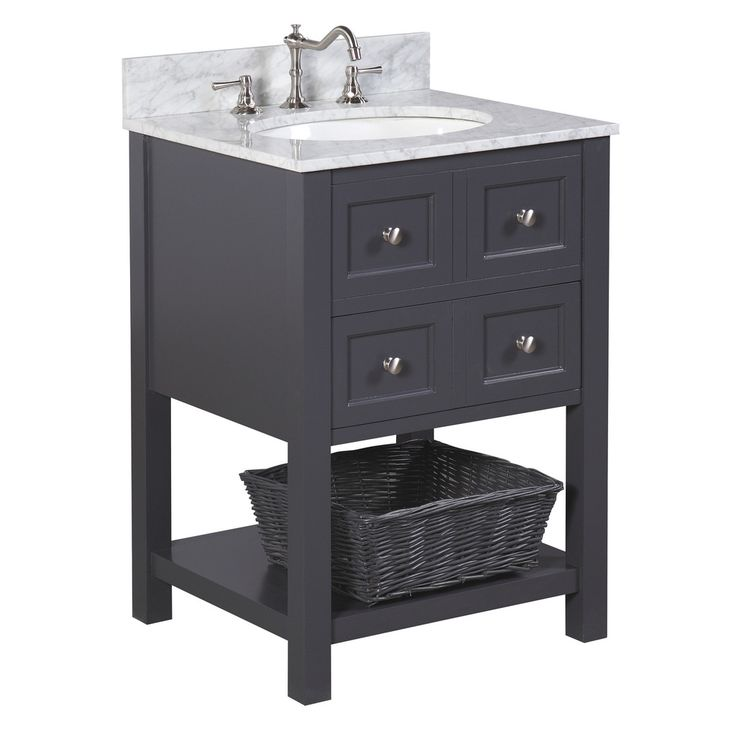 New Yorker 24-inch Vanity (Carrara/Charcoal Gray)