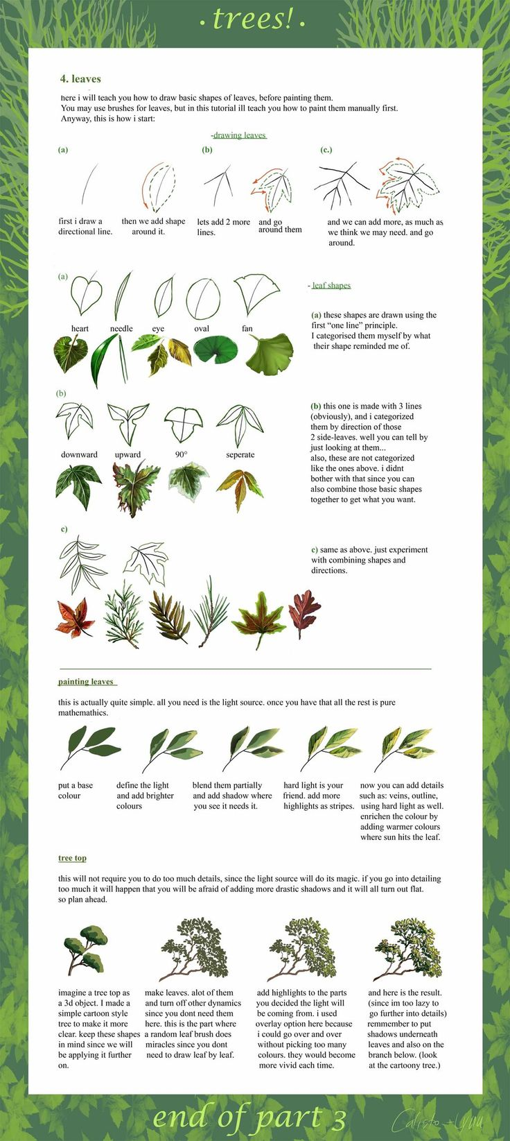 How to draw trees. A really neat tutorial in 3 parts. Part 3 by ~calisto-lynn on deviantART