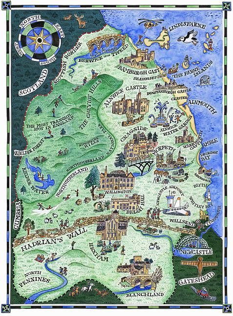 Illustrated map of Northumberland. Giclee  print from an original watercolour by Sarah Farooqi