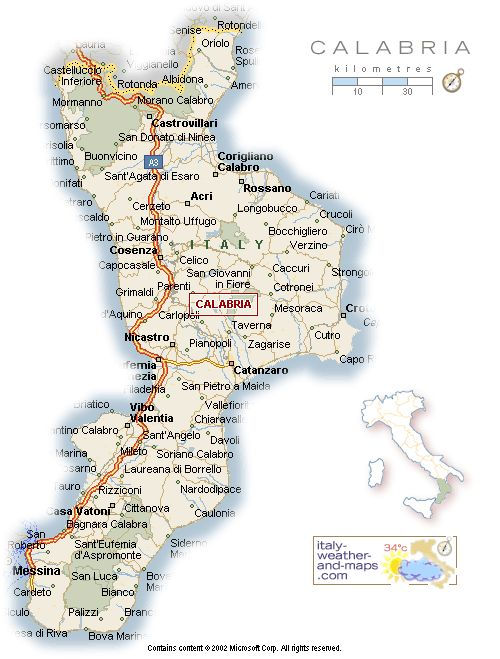 Map of Calabria, Italy from www.italy-weather-and-maps.com. The ancestral home of my paternal Perri family. www.marianneperry.ca