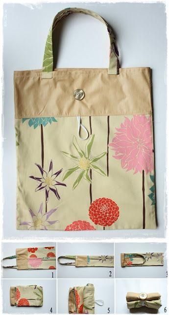DIY Foldable Tote Bag (good for library bag?)