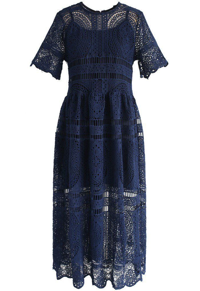 With Your Ingenuity Crochet Dress in Navy- New Arrivals - Retro, Indie and Unique Fashion