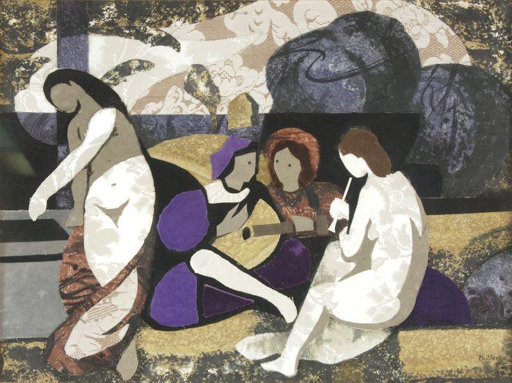 """BUTLER, Horacio Argentino 1897-1983 """"MUSICOS"""" Técnica mixta y collage. Firmada BUTLER abajo a la derecha. Medidas: Alto 41 cm. Ancho 55 cm. Colección MUÑIZ BARRETO."""