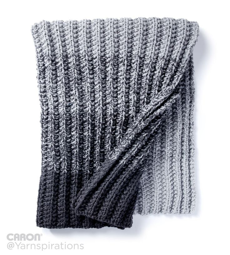 Ombre Ridge Knit Blanket | Free Pattern | Caron One Pound | Gray Matters