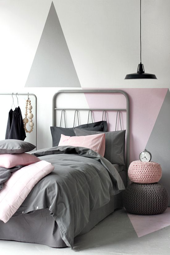 Gray, pink + black #modern #bedroom design with a minimal aesthetic. Perfect for a teen or #student!