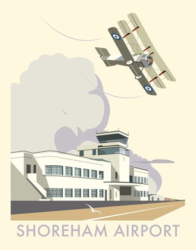 Shoreham Airport, signed open edition giclee, 400 x 500 mm, mounted on card