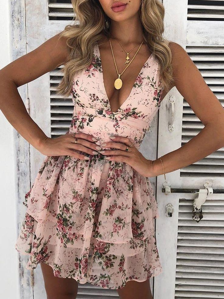 Floral Deep V Layered Ruffles Mini Dress