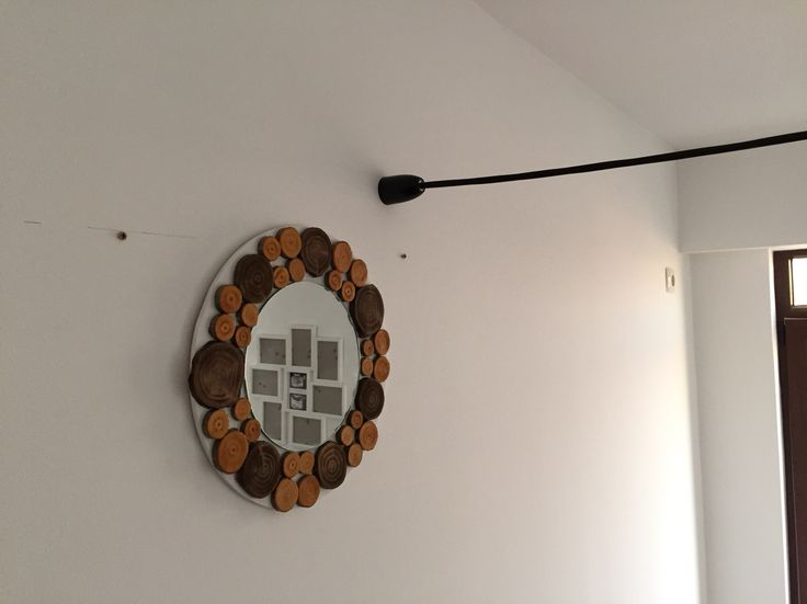 Antique pine and oak wood slices mirror