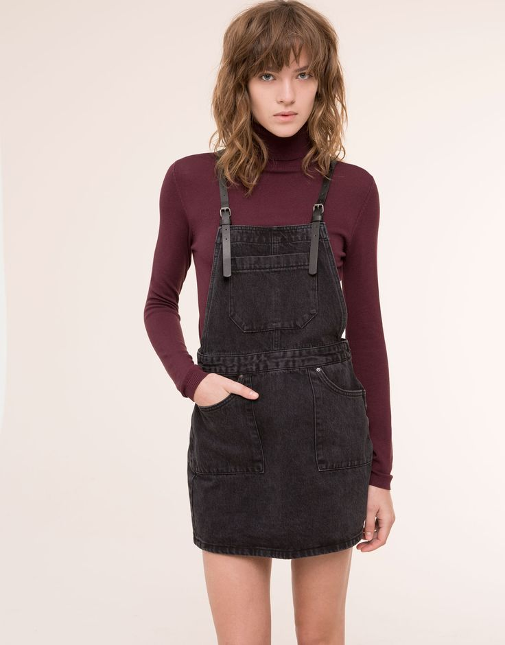 BLACK DENIM DUNGAREE SKIRT - NEW PRODUCTS - NEW PRODUCTS - PULL&BEAR Israel