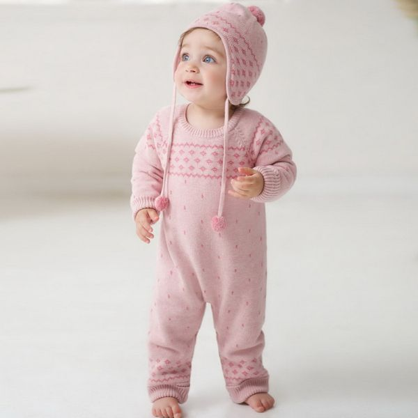 Cutest one piece made from soft cotton and a velvety lining, super warm!