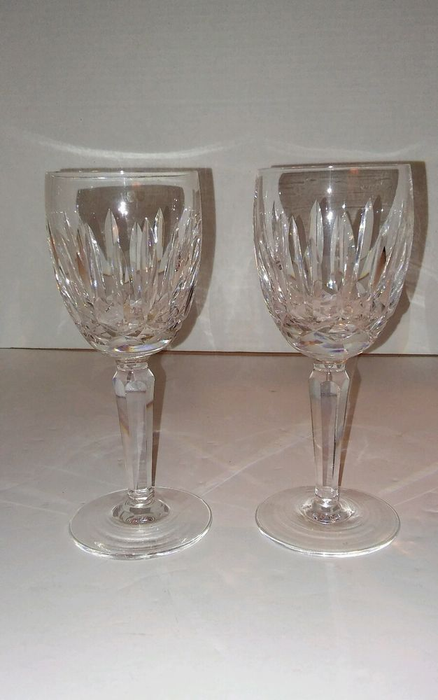 """2 Waterford Wine Glass Kildare Pattern 6.5"""" Smooth Bottom Fine Crystal  #Waterford"""