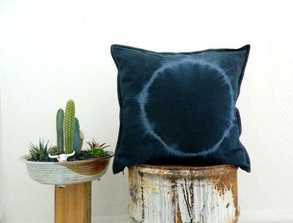 JUNO . tie dye cushion cover . pillow . throw cushion . decorative pillow . throw pillow . black denim . boho gypsy hippie industrial tribal