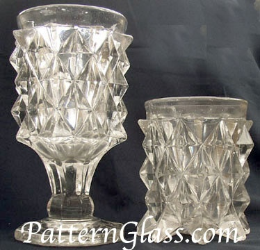Giant Sawtooth pattern is believed to have been one of the very first patterns pressed in America possibly as early as the 1840s.  It has only been found in these 2 forms... the goblet and a tumbler.Pattern Glasses, American Pattern, Sawtooth Pattern, Pattern Press