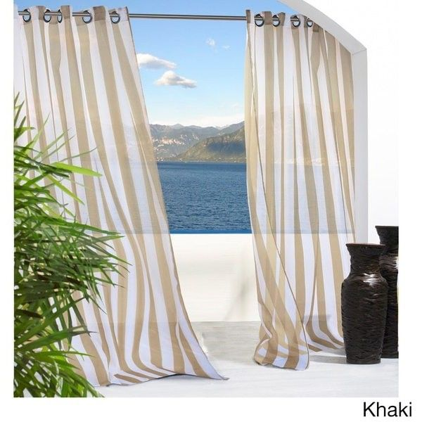 Escape Stripe Grommet Top Indoor/Outdoor Curtain Panel Pair ($68) ❤ Liked On