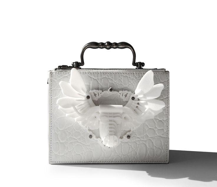 Exocet Paris White croco hand-bag, Bull 3d Printing