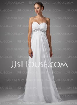 Empire Hjärtformad Court-släp Chiffon Bröllopsklänningar med Rufsar (002004156)