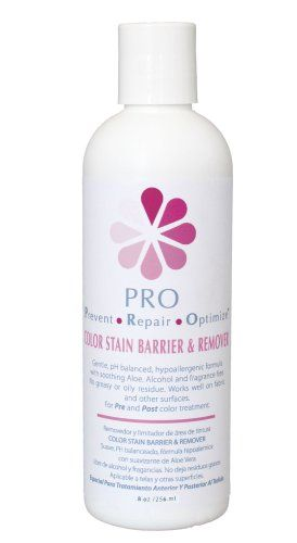 """PRO"" SKIN STAIN BARRIER & REMOVER! PROTECTS AND REMOVES HAIR DYE ON THE SKIN. 8oz BOTTLE ""SAY GOODBYE TO RING AROUND THE HAIRLINE"". Light and fast drying. Gentle, pH balanced, hypoallergenic formula with soothing Aloe. Great for sensitive or porous skin types. Elliminates Greay Root Coverage Worries. Colors stays in. PRE & POST treatment. Salon Professionals say It's a new must-have on the tray of every hair colorist. It works beautifully on sensitive skin that normally retains..."