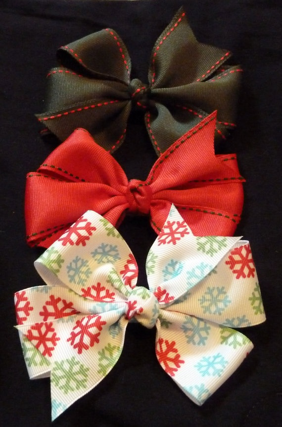 "CLEARANCE Christmas set of 3-- 4.5"" Hair Bow for Babies and Girls on Etsy, $6.50"