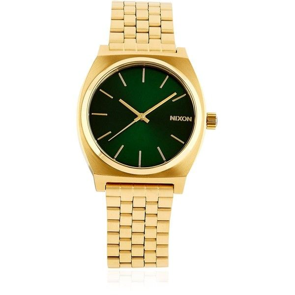 Nixon Women Time Teller Gold Finish Watch ($130) ❤ liked on Polyvore featuring jewelry, watches, nixon jewelry, nixon wrist watch, nixon watches, water resistant watches and green watches
