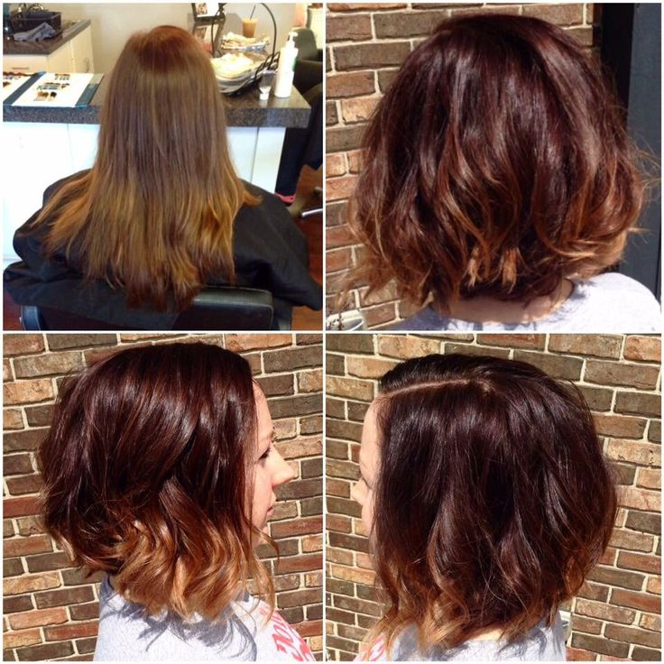 Rich red balayage with a shattered bob haircut