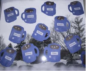 mug of hot chocolate quick winter craft for kids, January art for preschool, kindergarten and first graders: