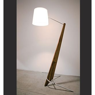 """Cerno Silva Giant Lamp  Dimensions - 84"""" H - 16"""" Ø shade  Walnut, aluminum, linen shade  Energy efficient LED light source  Fully dimmable with No flicker  Light output - 1150 Lumens  Light color - 2700° K (warm)  Color accuracy - 85 CRI  Power usage - 20 Watts  Wood grain will vary"""