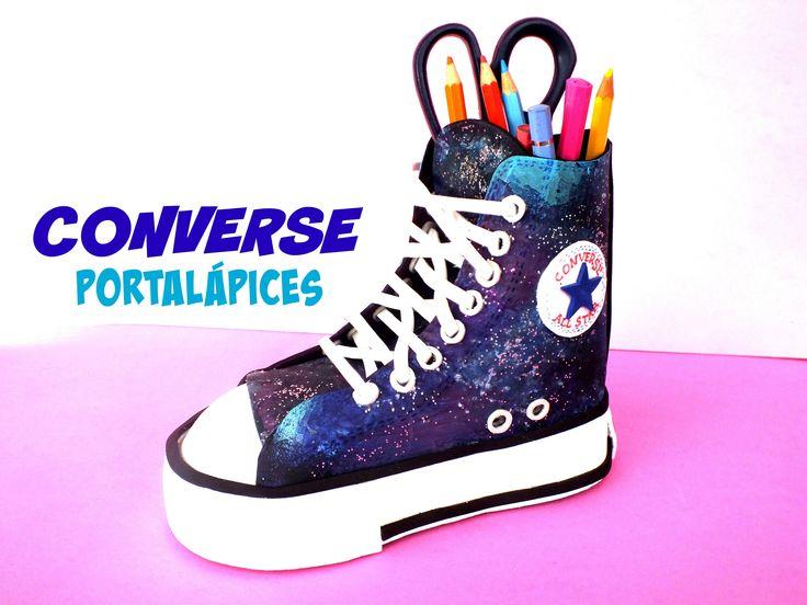 DIY Converse galáctica PORTALÁPICES de goma eva fomi | Regreso a clases ...