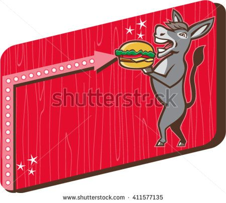 Illustration of a donkey, ass, mule or horse mascot serving up a hamburger burger sandwich viewed from the side set inside rectangle shape with woodgrain done in 1950s retro diner style  - stock vector #hamburger #retro #illustration