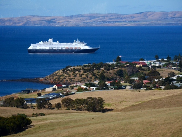 Volendam cruise ship, viewed from above Penneshaw, Kangaroo Island, Australia, Nov 2012