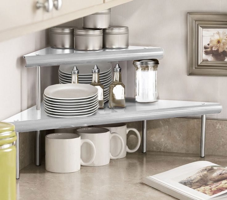 Marimac 2-Tier Kitchen Counter Corner Shelf In Satin