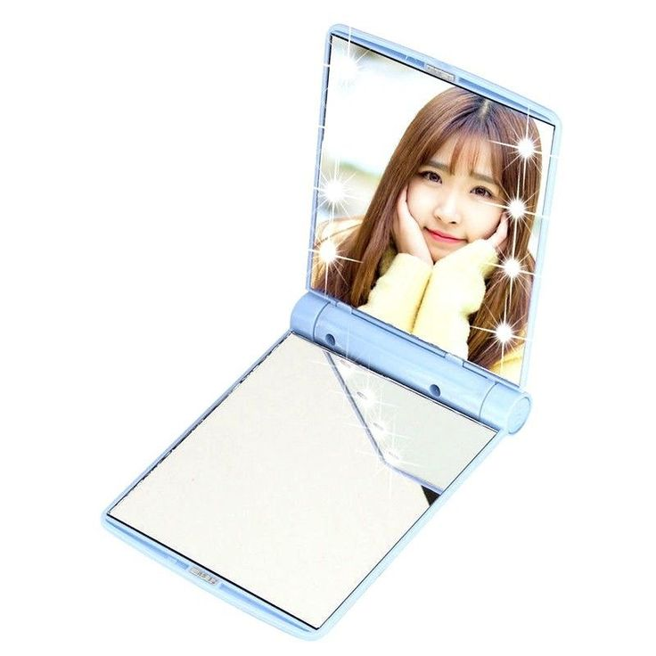 Details about Xmas Mini Makeup Pocket Vanity Mirror 8 LED Portable Cosmetics Folding Handbag