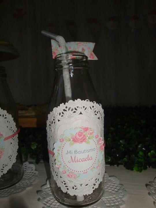 Bautismo Decoracion Vintage ~ Botellas decoradas con blondas  Frascos  Pinterest