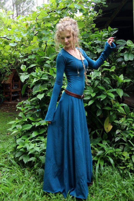 RESERVED Size S/M Hemp Lycra Midnight Hour Maxi Dress by Wyldeskye