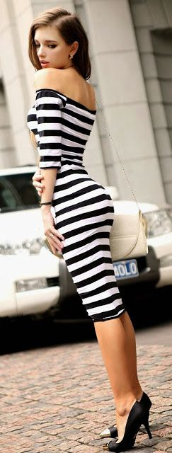 Stripes bodycon midi dress