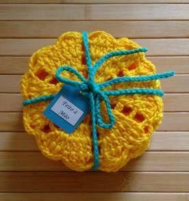Porta Copos de Crochê---- linda maneira de entregar encomendas