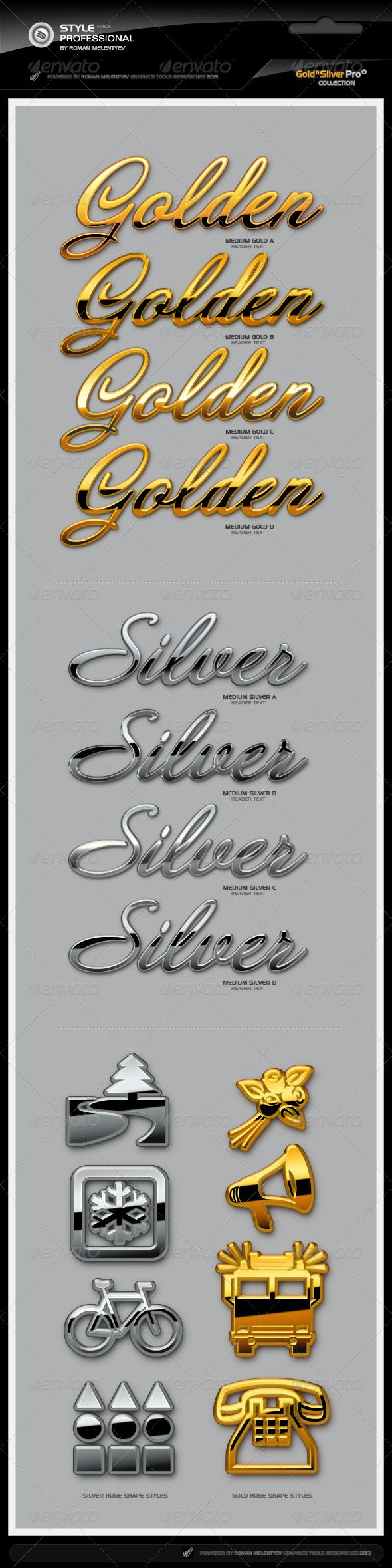 Gold & Silver Styles Pro - Text Effects Styles