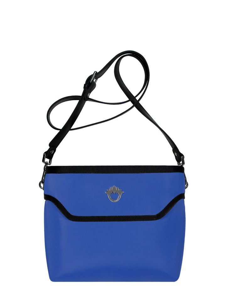 GOSHICO, ss2015, Flowerbag (cross body bag), blue. To download high or low resolution photos view Mondrianista.com (editorial use only).