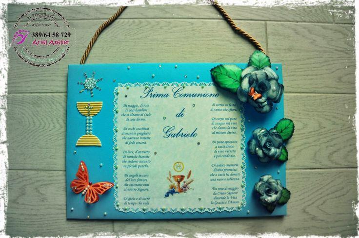 Ariel Atelier: pannello decorativo, filastrocca, Prima Comunione
